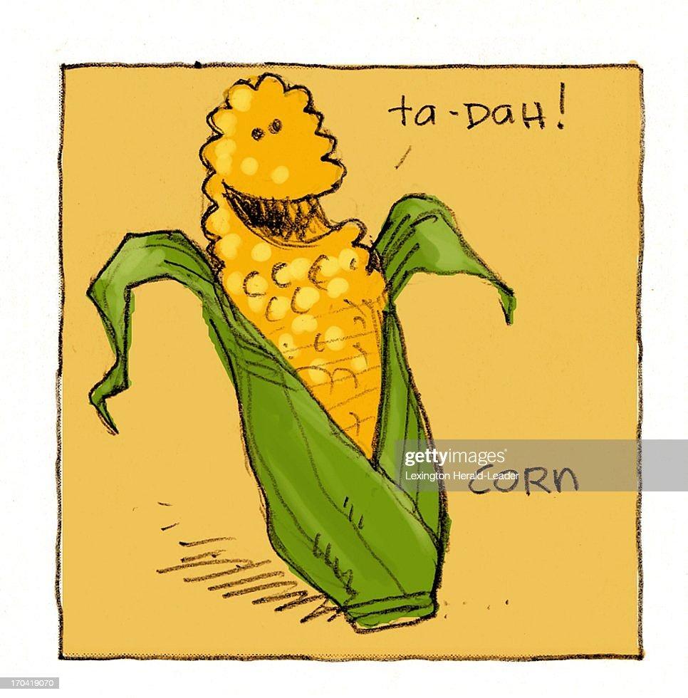 USA - 2013 300 dpi Chris Ware illustration of corn.