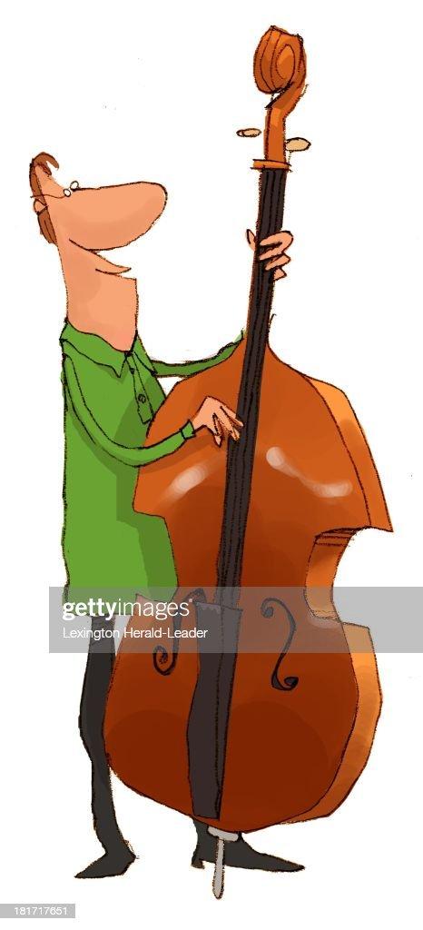 USA - 2013 300 dpi Chris Ware illustration of man playing a bass.