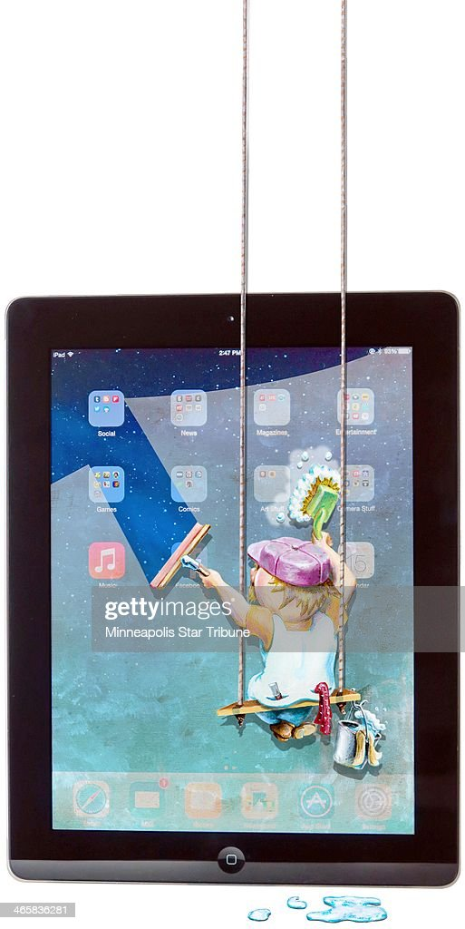USA - 2014 300 dpi Eddie Thomas illustration of window washer suspended in front of an iPad screen.