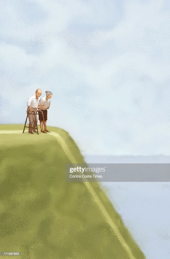 USA - 2013 300 dpi Jeff Durham illustration of an elderly couple on top of a hill, staring down at the daunting declining road ahead.