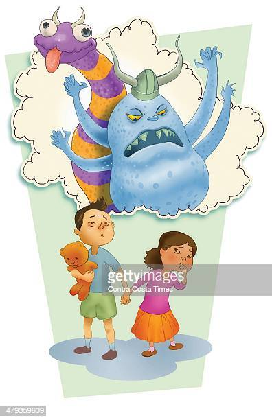 USA 2014 300 dpi Jeff Durham illustration of f children and scary monsters related to helping kids overcome fears