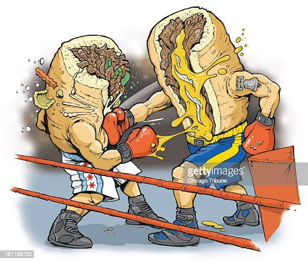 USA 2013 300 dpi Phil Geib color illustration of a Philly cheesesteak sandwich battling it out in a boxing ring against an Italian beef sandwich