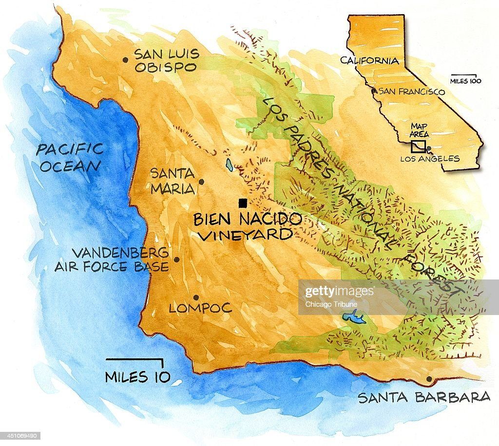 ILLUSTRATION Bien Nacido Vineyard Pictures Getty Images - San luis usa map