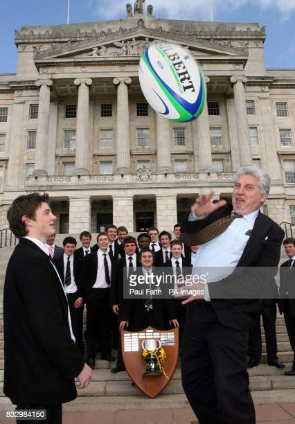 Dr Alasdair McDonnell MP with Captain Mark Jones on the steps of Stormont Belfast where the MP hosted the victorious Royal Belfast Academical...