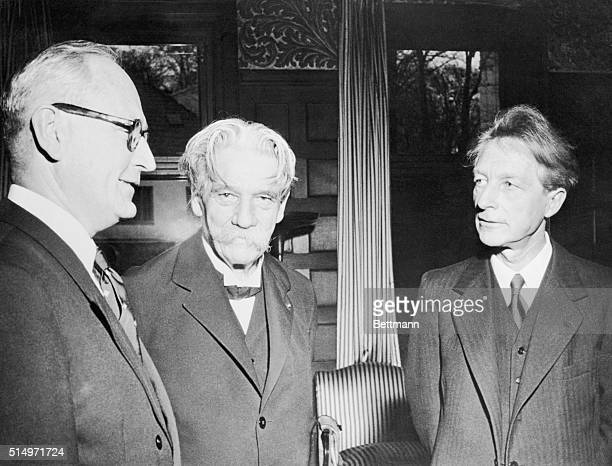 Dr Albert Schweitzer in Oslo to deliver his acceptance speech for the 1953 Nobel Peace Prize chats with Norwegian Foreign Minister Halvard Lange at a...