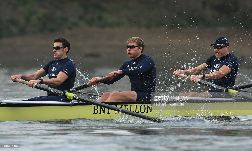 Dr Alex Woods, Constantine Louloudis and Karl Hudspith of Oxford's 'Hurricane' crew in action during the trial 8's for The BNY Melon University Boat Race on The River Thames on December 13, 2012 in London, England.