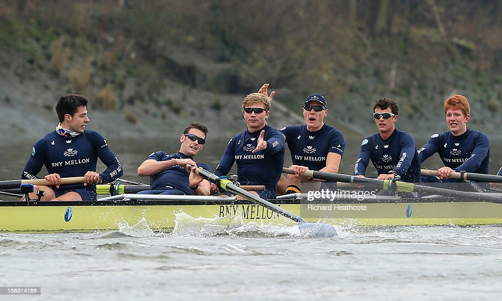 Dr Alex Woods of Oxford's 'Hurricane' crew loses his blade as Constantine Louloudis and Karl Hudspith protest during the trial 8's for The BNY Melon University Boat Race on The River Thames on December 13, 2012 in London, England.