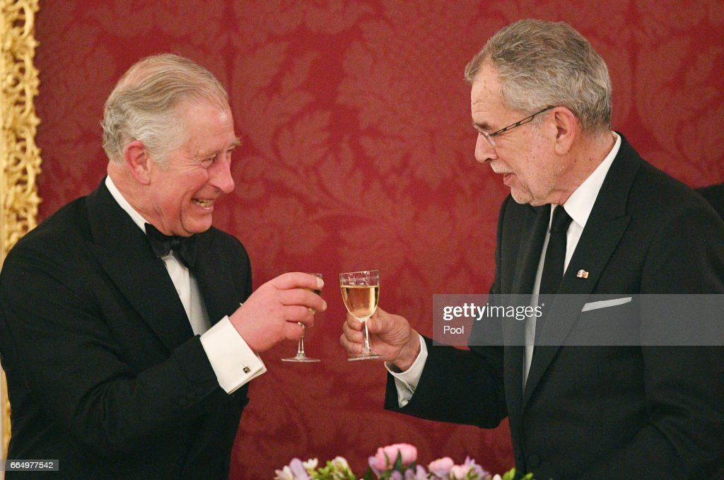 Dr. Alexander van der Bellen toasts Prince Charles, Prince of Wales at the Hofburg Palace during a State Dinner on April 5, 2017 in Vienna, Austria. Her Royal Highness will accompany the First Lady on a tour of the presidential apartments whilst His Royal Highness and the President hold a bilateral discussion with the Austrian and British delegations.