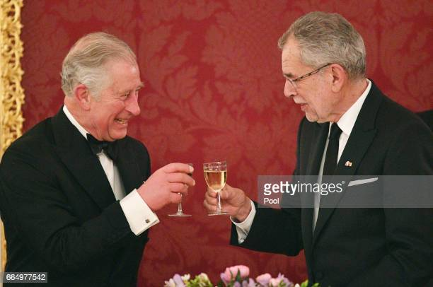 Dr Alexander van der Bellen toasts Prince Charles Prince of Wales at the Hofburg Palace during a State Dinner on April 5 2017 in Vienna Austria Her...