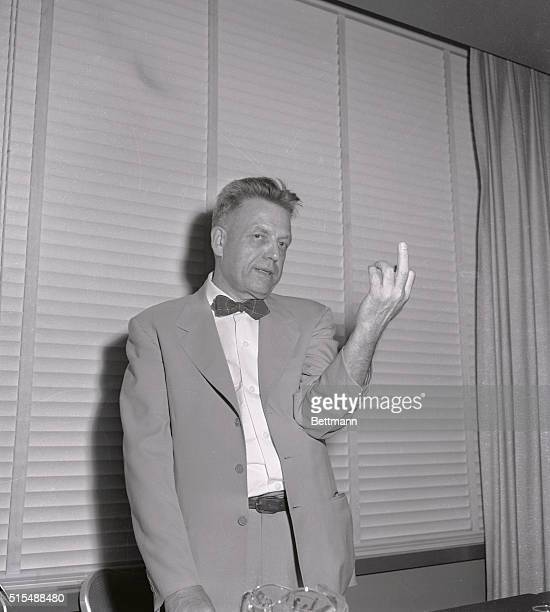 Dr Alfred Kinsey held his first press conference today since the publication of reviews of his controversial new book 'Sexual Behavior in the Human...