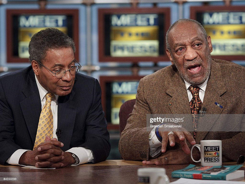 Dr. Alvin F. Poussaint (L) listens to his co-author comedian <a gi-track='captionPersonalityLinkClicked' href=/galleries/search?phrase=Bill+Cosby&family=editorial&specificpeople=206281 ng-click='$event.stopPropagation()'>Bill Cosby</a> (R) speak during a live taping of 'Meet the Press' at the NBC studios January 11, 2009 in Washington, DC. The panel discussion was focused on the incoming President-elect, Barack Obama and his administration.