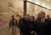 Dr Amira Edan the curator of the National Museum describes to Italian Foreign Minister Franco Frattini and Iraqi Foreign Minister Hoshyar Zebari the...