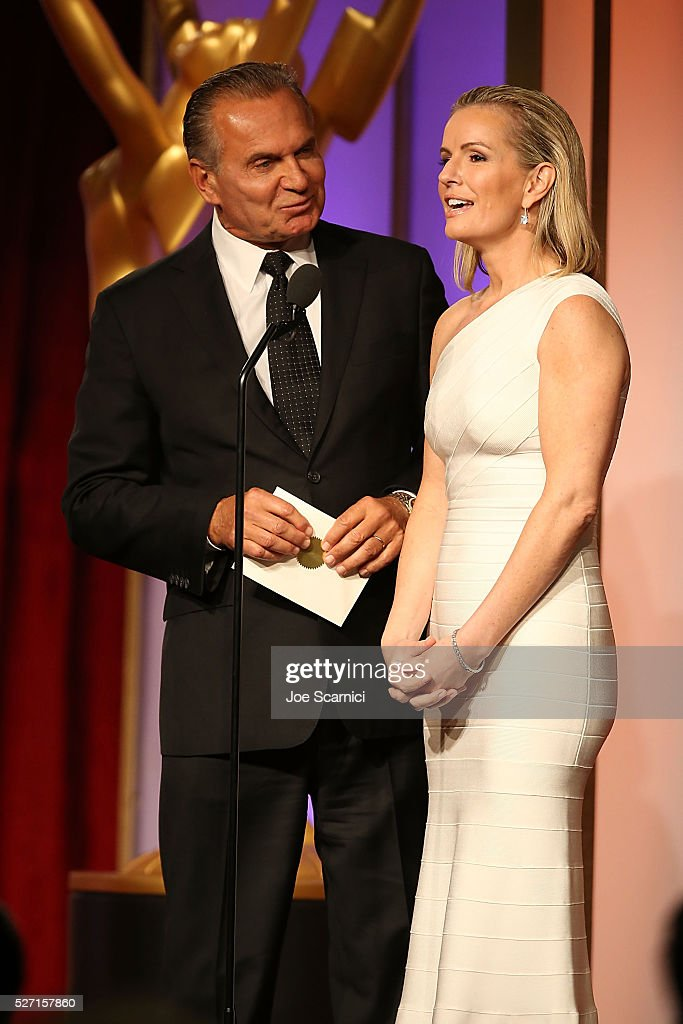 Dr. Andrew P. Ordon, MD (L) and physician Jennifer Ashton speak onstage during the 2016 Daytime Emmy Awards at Westin Bonaventure Hotel on May 1, 2016 in Los Angeles, California.