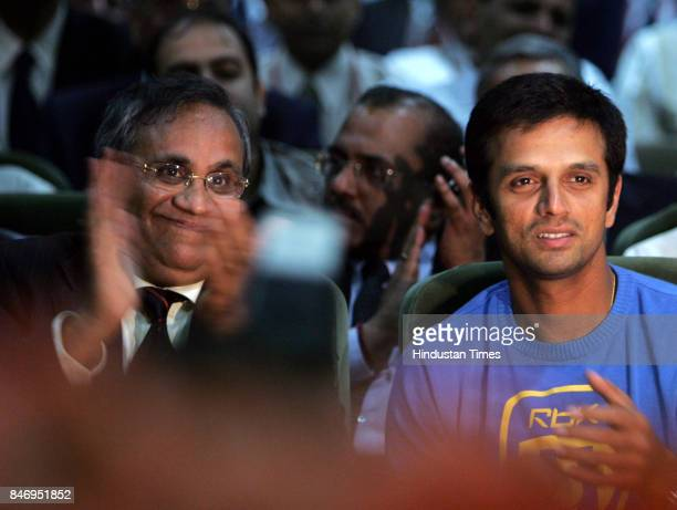 Dr Anil Khandelwal Chairman of Bank of Baroda and Indian Cricket team captain Rahul Dravid at the inauguration ceremony of 3 retail Loan factories of...