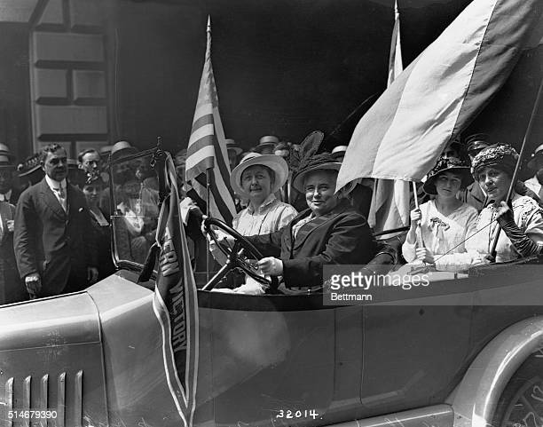 Dr Anna Shaw and fellow suffragists drive down Fifth Avenue in her new car a gift from the National American Women's Suffrage Association