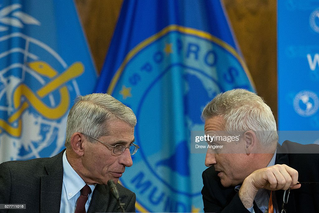Dr. Anthony Fauci, director of the National Institute of Allergy and Infectious Diseases (NIAD), speaks with Dr. Sylvain Aldighieri, Zika Incident Manager for the Pan American Health Organization (PAHO), during a media briefing concerning the Zika virus, at the Pan American Health Organization headquarters, May 3, 2016, in Washington, DC. Researchers have recently discovered the Zika virus in a second mosquito species. Known as the 'Asian Tiger' mosquito, (formally named Aedes albopictus) the species stretches much further north into the United States than the previously known Zika carrying Aedes aegypti species. The discovery was recently reported in the April 21 'Zika - Epidemiological Update' report issued by Pan American Health Organization and the World Health Organization.