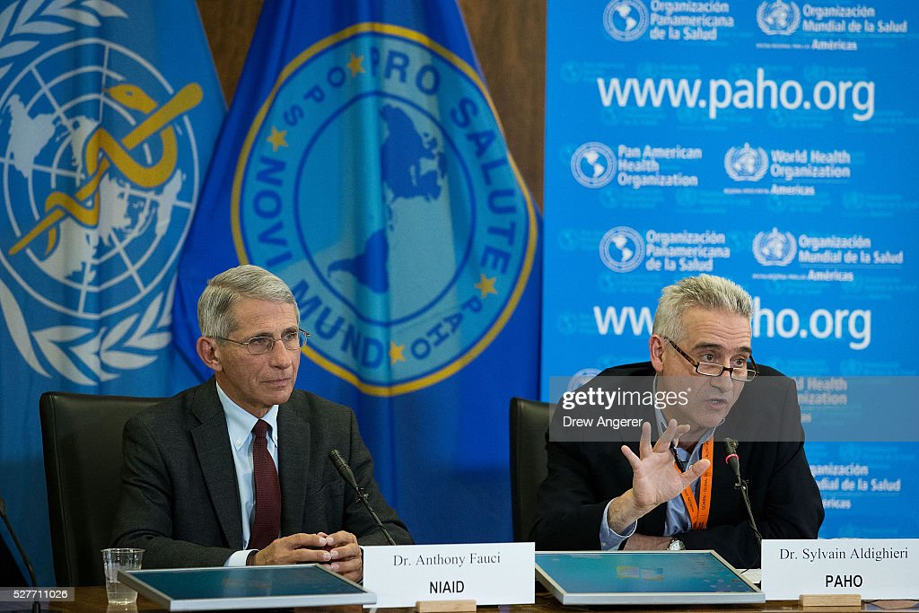 Dr Anthony Fauci director of the National Institute of Allergy and Infectious Diseases looks on as Dr Sylvain Aldighieri Zika Incident Manager for...