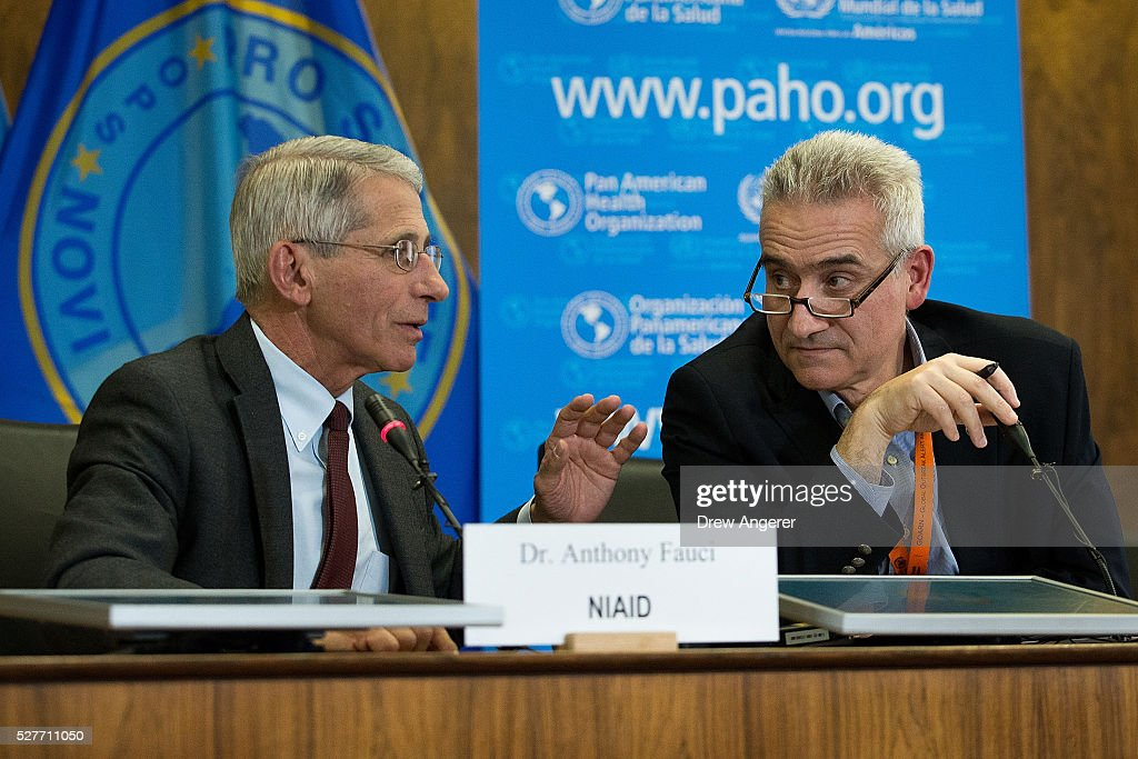 Dr Anthony Fauci director of the National Institute of Allergy and Infectious Diseases speaks with Dr Sylvain Aldighieri Zika Incident Manager for...
