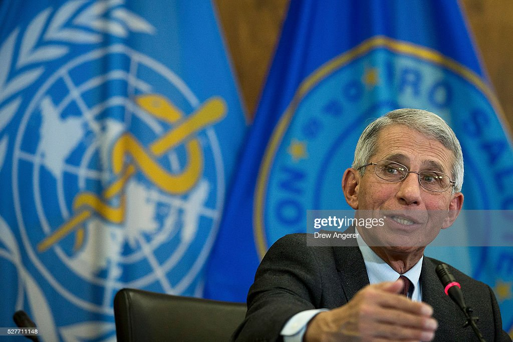 Dr Anthony Fauci director of the National Institute of Allergy and Infectious Diseases speaks during a media briefing concerning the Zika virus at...