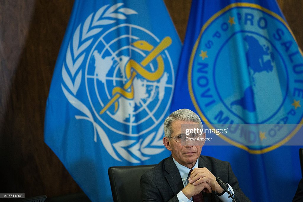 Dr Anthony Fauci director of the National Institute of Allergy and Infectious Diseases pauses during a media briefing concerning the Zika virus at...