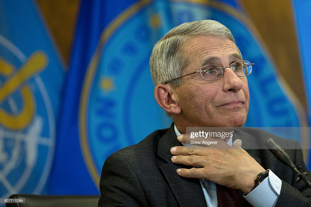 Dr Anthony Fauci director of the National Institute of Allergy and Infectious Diseases listens to a question during a media briefing concerning the...