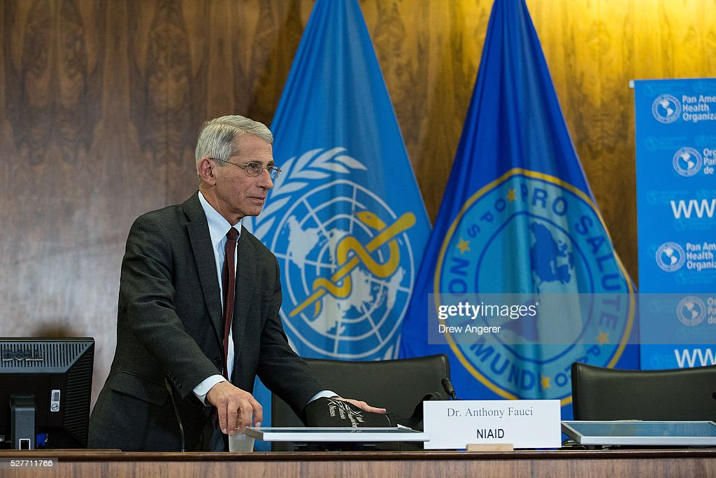 Dr. Anthony Fauci, director of the National Institute of Allergy and Infectious Diseases (NIAD),arrives for a media briefing concerning the Zika virus, at the Pan American Health Organization headquarters, May 3, 2016, in Washington, DC. Researchers have recently discovered the Zika virus in a second mosquito species. Known as the 'Asian Tiger' mosquito, (formally named Aedes albopictus) the species stretches much further north into the United States than the previously known Zika carrying Aedes aegypti species. The discovery was recently reported in the April 21 'Zika - Epidemiological Update' report issued by Pan American Health Organization and the World Health Organization.