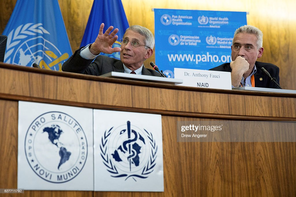 Dr. Anthony Fauci, director of the National Institute of Allergy and Infectious Diseases (NIAD), speaks as Dr. Sylvain Aldighieri, Zika Incident Manager for the Pan American Health Organization (PAHO), looks on during a media briefing concerning the Zika virus, at the Pan American Health Organization headquarters, May 3, 2016, in Washington, DC. Researchers have recently discovered the Zika virus in a second mosquito species. Known as the 'Asian Tiger' mosquito, (formally named Aedes albopictus) the species stretches much further north into the United States than the previously known Zika carrying Aedes aegypti species. The discovery was recently reported in the April 21 'Zika - Epidemiological Update' report issued by Pan American Health Organization and the World Health Organization.
