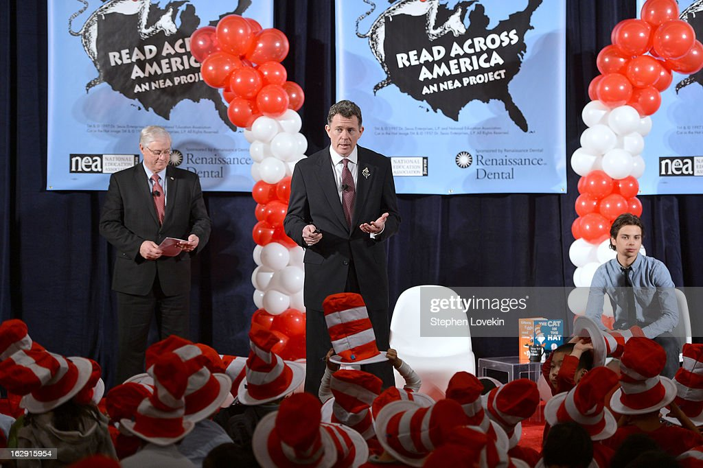 Dr. Anthony W. Marx, Denis Van Rickel, and Jake T. Austin Join Cat In The Hat On NEA's Read Across America Day at New York Public Library on March 1, 2013 in New York City.