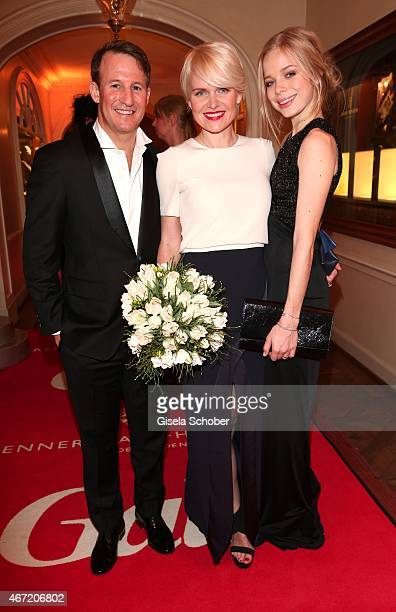 Dr Barbara Sturm and her husband Adam Waldman and her daughter Charly Sturm during the Gala Spa Awards 2015 at Brenners ParkHotel Spa on March 21...