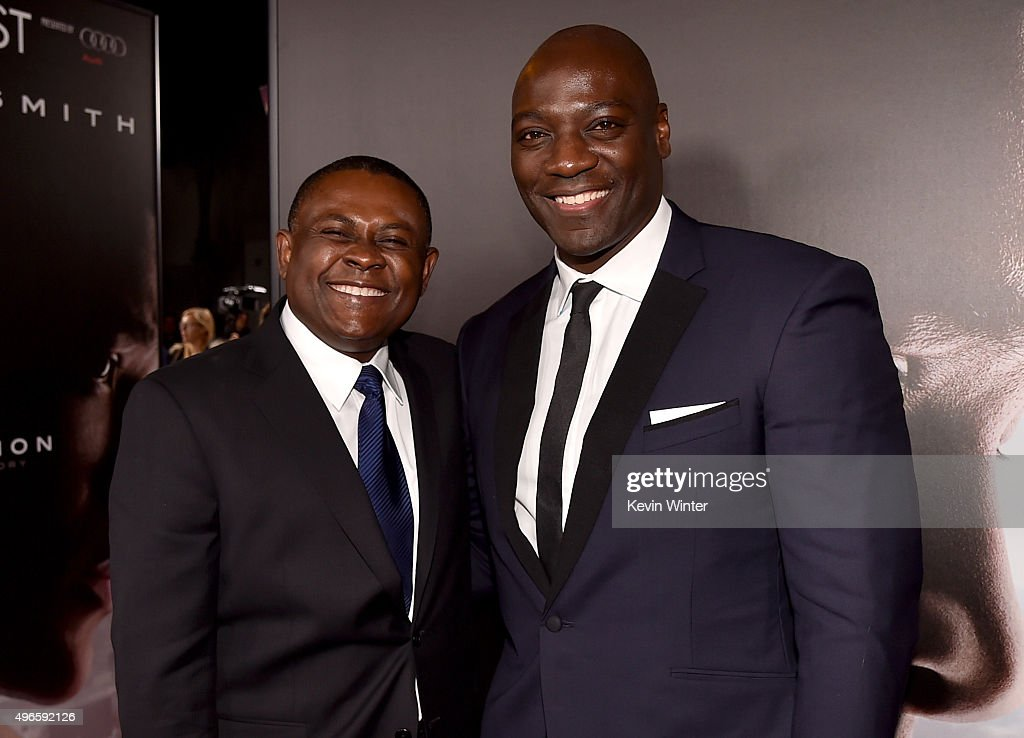 Dr. Bennet Omalu (L) and actor Adewale Akinnuoye-Agbaje attend the Centerpiece Gala Premiere of Columbia Pictures' 'Concussion' during AFI FEST 2015 presented by Audi at TCL Chinese Theatre on November 10, 2015 in Hollywood, California.