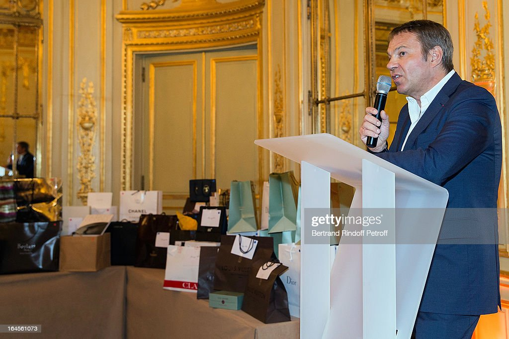 Dr Bertrand Matteoli delivers a speech during the benefit party in aid of the 'Chirurgie Plus' (AC+) association at Hotel Meurice on March 24, 2013 in Paris, France.