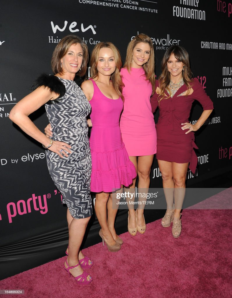 Dr. Beth Y. Karlan, M.D., Director of Cedars-Sinai Women's Cancer Program, chef Giada De Laurentiis, TV personality Maria Menounos and Pink Party Founder Elyse Walker arrive at Elyse Walker presents the 8th annual Pink Party hosted by Michelle Pfeiffer to benefit Cedars-Sinai Women's Cancer Program held at