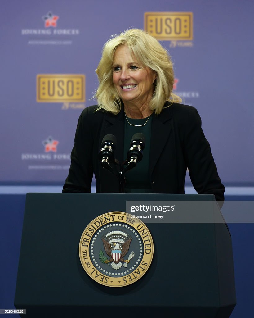 Dr Biden greets the troops at the 75th Anniversary USO Show on May 5 2016 at Joint Base Andrews in Camp Springs Maryland