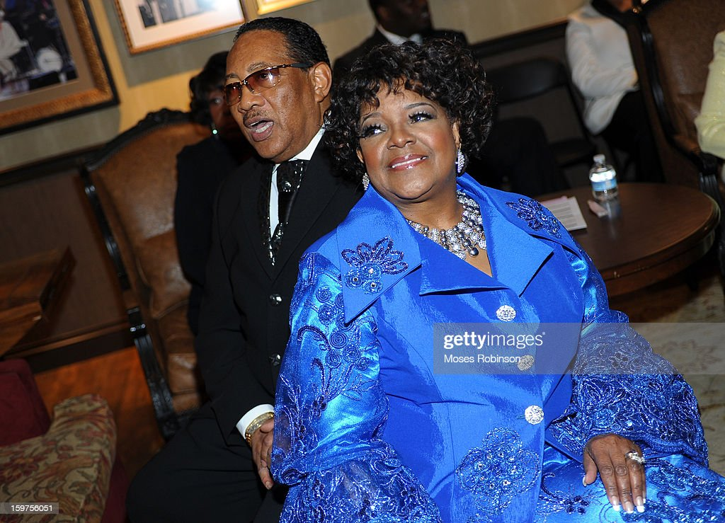 Dr. Bobby Jones and Shirley Caesar attend the 28th Annual Stellar Awards Backstage at Grand Ole Opry House on January 19, 2013 in Nashville, Tennessee.