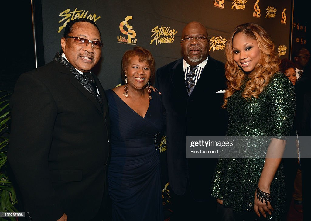 Dr. Bobby Jones, Central City Productions President & COO Erma Davis, Bishop T.D. Jakes, and Sarah Jakes arrive at the 28th Annual Stellar Awards Red Carpet at Grand Ole Opry House on January 19, 2013 in Nashville, Tennessee.