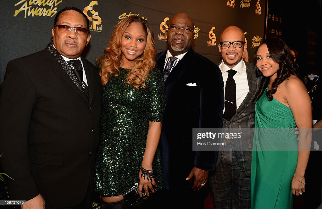 Dr. Bobby Jones, Sarah Jakes, Bishop T.D. Jakes, James Fortune, and Cheryl Fortune arrive at the 28th Annual Stellar Awards at Grand Ole Opry House on January 19, 2013 in Nashville, Tennessee.