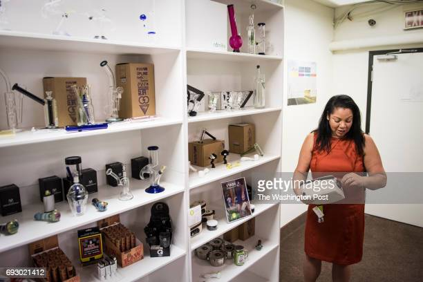 Dr Chanda Macias MBA shows off products at National Holistic Healing Center in Washington DC on Tuesday October 04 2016