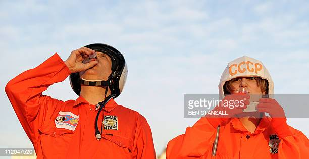 Dr Chris Welch and Vix Southgate drink a toast of vodka before a walk to mark a half century since Russian cosmonaut Yuri Gagarin became the first...