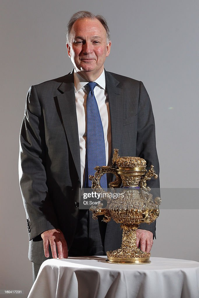 Dr Christopher Brown, the Director of the Ashmolean Museum, poses in the Institute of Contemporary Arts with a 'silver gilt ewer with enamelled royal arms of Portugal' that dates from around 1510 AD, prior to an announcement of a major bequest of silver artifacts on January 31, 2013 in London, England. The Ashmolean has received a major collection of around 500 silver objects from the Renaissance and Baroque periods from the late silver merchant and expert Michael Wellby who died last year.