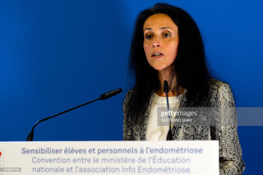 Dr Chrysoula Zacharopoulou delivers a speech before signing the first partnership convention between the Ministry of National Education, Higher Education and Research and the Info Endometriosis association in Paris, on June 27, 2016. The gynaecological disease endometriosis, a condition in which cells that usually line the uterus grow in other areas, often on the ovaries and can lead to difficulties in getting pregnant and even infertility. / AFP / BERTRAND