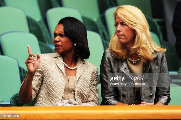 Dr Condoleezza Rice in the Royal Box during day one of the Wimbledon Championships at The All England Lawn Tennis and Croquet Club Wimbledon