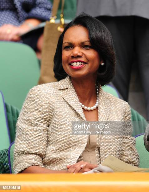 Dr Condoleezza Rice watches from the Royal Box during day one of the Wimbledon Championships at The All England Lawn Tennis and Croquet Club Wimbledon