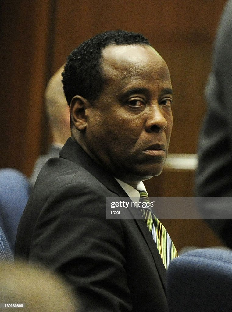 Dr. Conrad Murray listens during testimony by Dr. Paul White, an anesthesiologist and propofol expert, during the final stage of Murray's defense during his involuntary manslaughter trial in the death of singer Michael Jackson in Los Angeles Superior Court on October 27, 2011 in Los Angeles, California. Murray has pleaded not guilty and faces four years in prison and the loss of his medical licenses if convicted of involuntary manslaughter in Jackson's death.