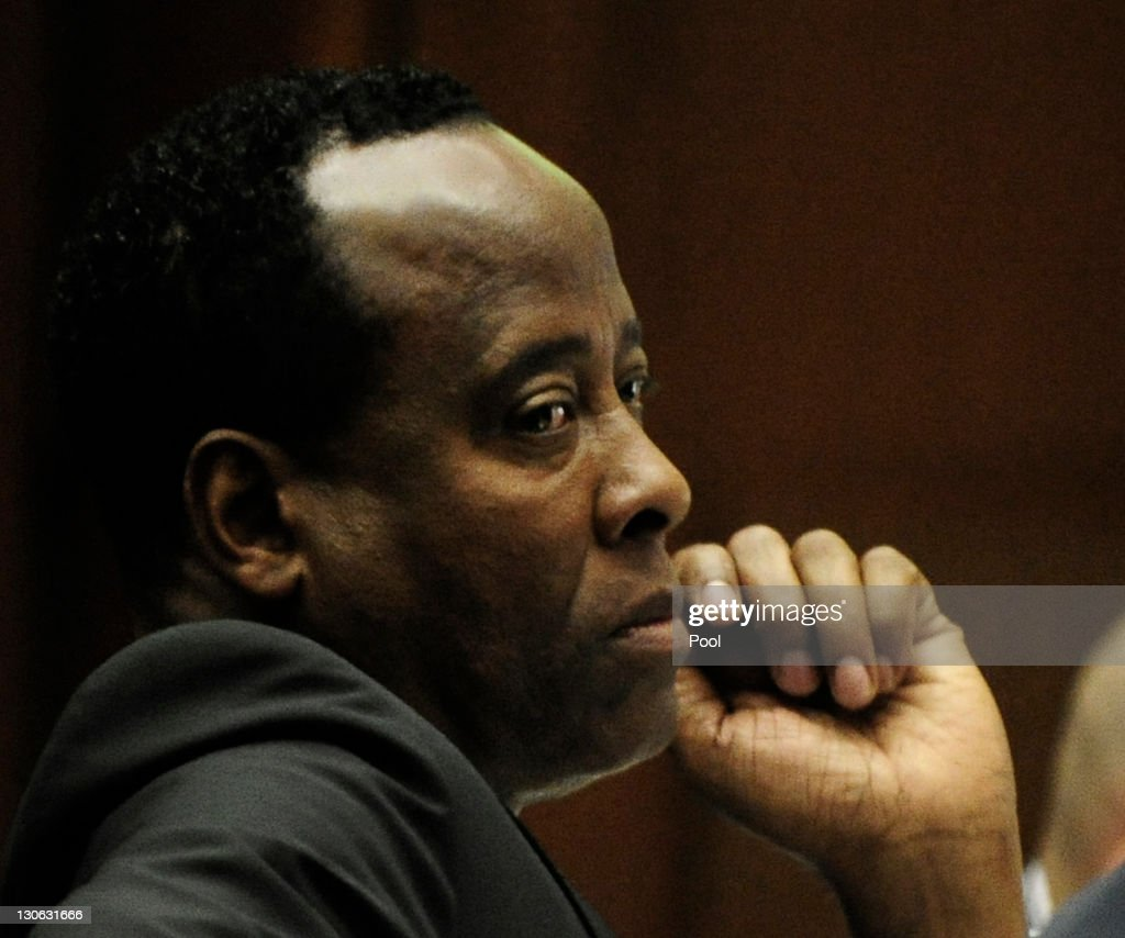 Dr. Conrad Murray listens during testimony by Dr. Robert Waldman, an addiction specialist, during the final stage of his defense during his involuntary manslaughter trial in the death of singer Michael Jackson in Los Angeles Superior Court on October 27, 2011 in Los Angeles, California. Murray has pleaded not guilty and faces four years in prison and the loss of his medical licenses if convicted of involuntary manslaughter in Jackson's death.