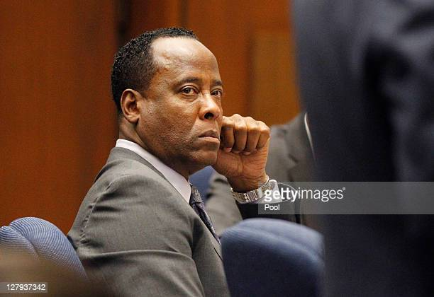 Dr Conrad Murray listens to testimony during his involuntary manslaughter trial at the Los Angeles Superior Court on October 3 2011 in downtown Los...