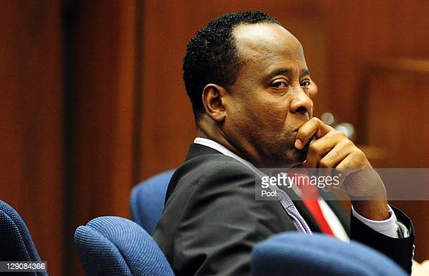 Dr Conrad Murray looks on during his involuntary manslaughter trial at the Los Angeles Superior Court on October 12 2011 in downtown Los Angeles...