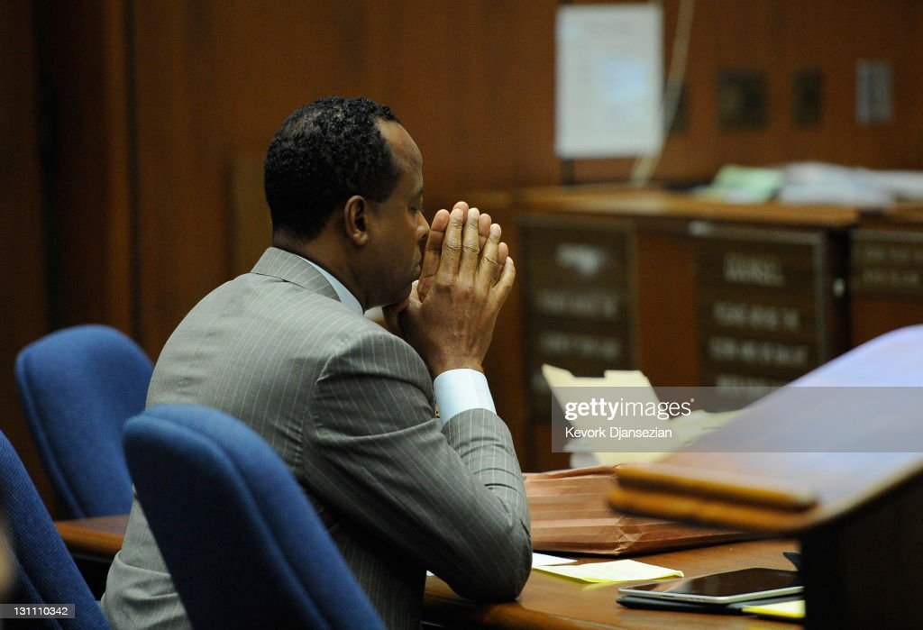 Dr. <a gi-track='captionPersonalityLinkClicked' href=/galleries/search?phrase=Conrad+Murray&family=editorial&specificpeople=5945898 ng-click='$event.stopPropagation()'>Conrad Murray</a> looks on during the final stage of <a gi-track='captionPersonalityLinkClicked' href=/galleries/search?phrase=Conrad+Murray&family=editorial&specificpeople=5945898 ng-click='$event.stopPropagation()'>Conrad Murray</a>'s defense in his involuntary manslaughter trial in the death of singer Michael Jackson at the Los Angeles Superior Court on November 1, 2011 in Los Angeles, California. Dr. Murray decided not to testify for his defense. Murray has pleaded not guilty and faces four years in prison and the loss of his medical licenses if convicted of involuntary manslaughter in Jackson's death.