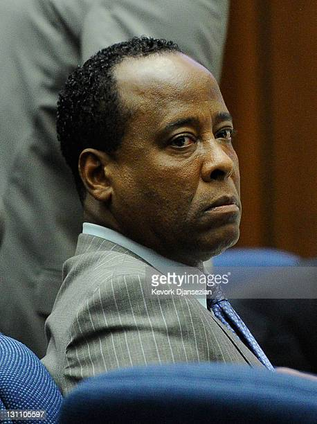 Dr Conrad Murray looks on prior to midmorning recess during the final stage of Conrad Murray's defense in his involuntary manslaughter trial in the...
