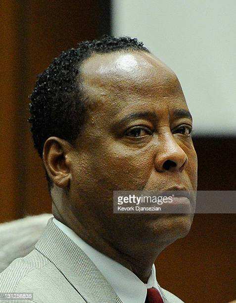 Dr Conrad Murray looks on prior to the start of the morning's court proceedings during the final stage of Conrad Murray's defense in his involuntary...