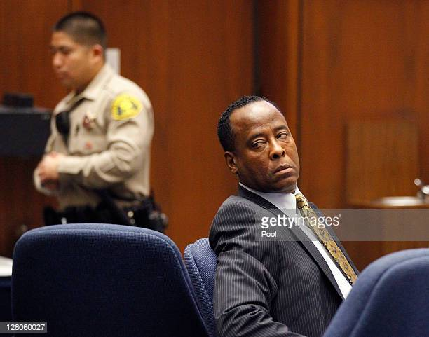 Dr Conrad Murray looks toward the gallery during his involuntary manslaughter trial at the Los Angeles Superior Court on October 5 2011 in downtown...